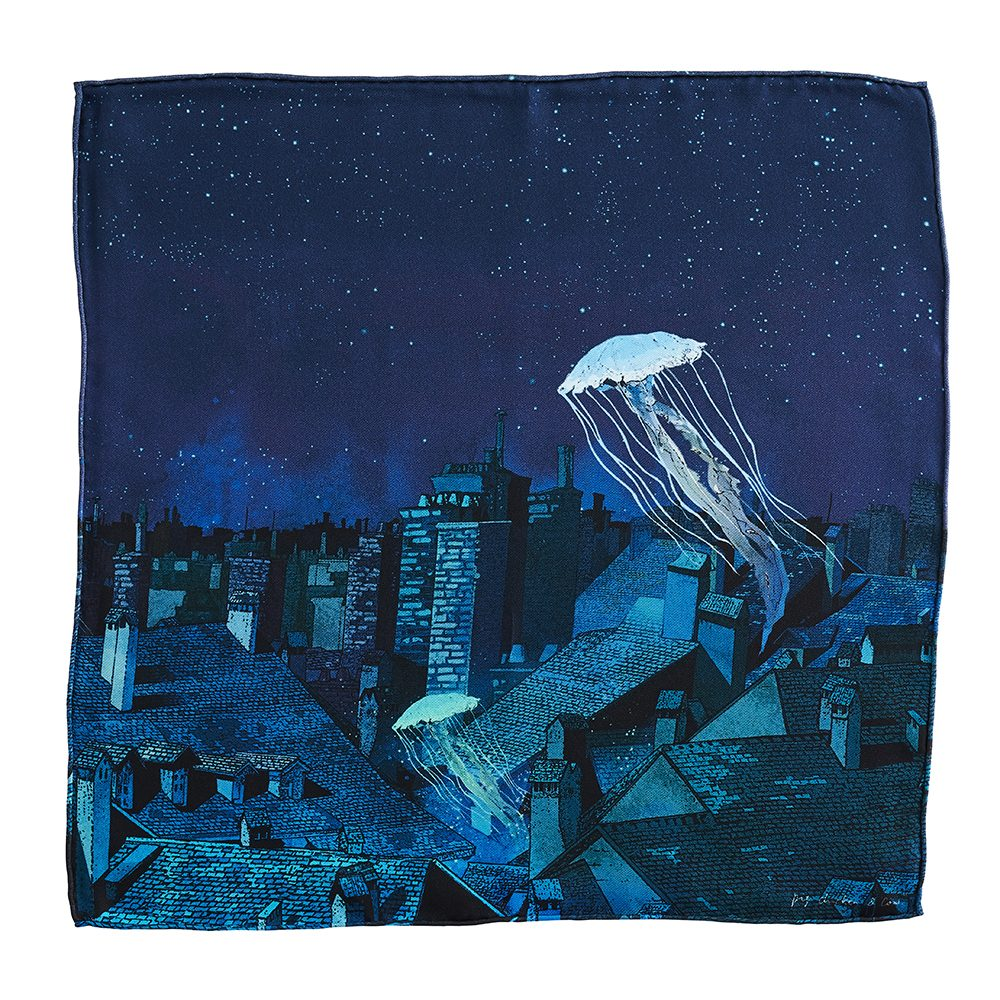 Designer pocket square - silk with jellyfish design