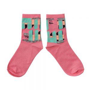 Designer socks Bauhaus disco pink pattern