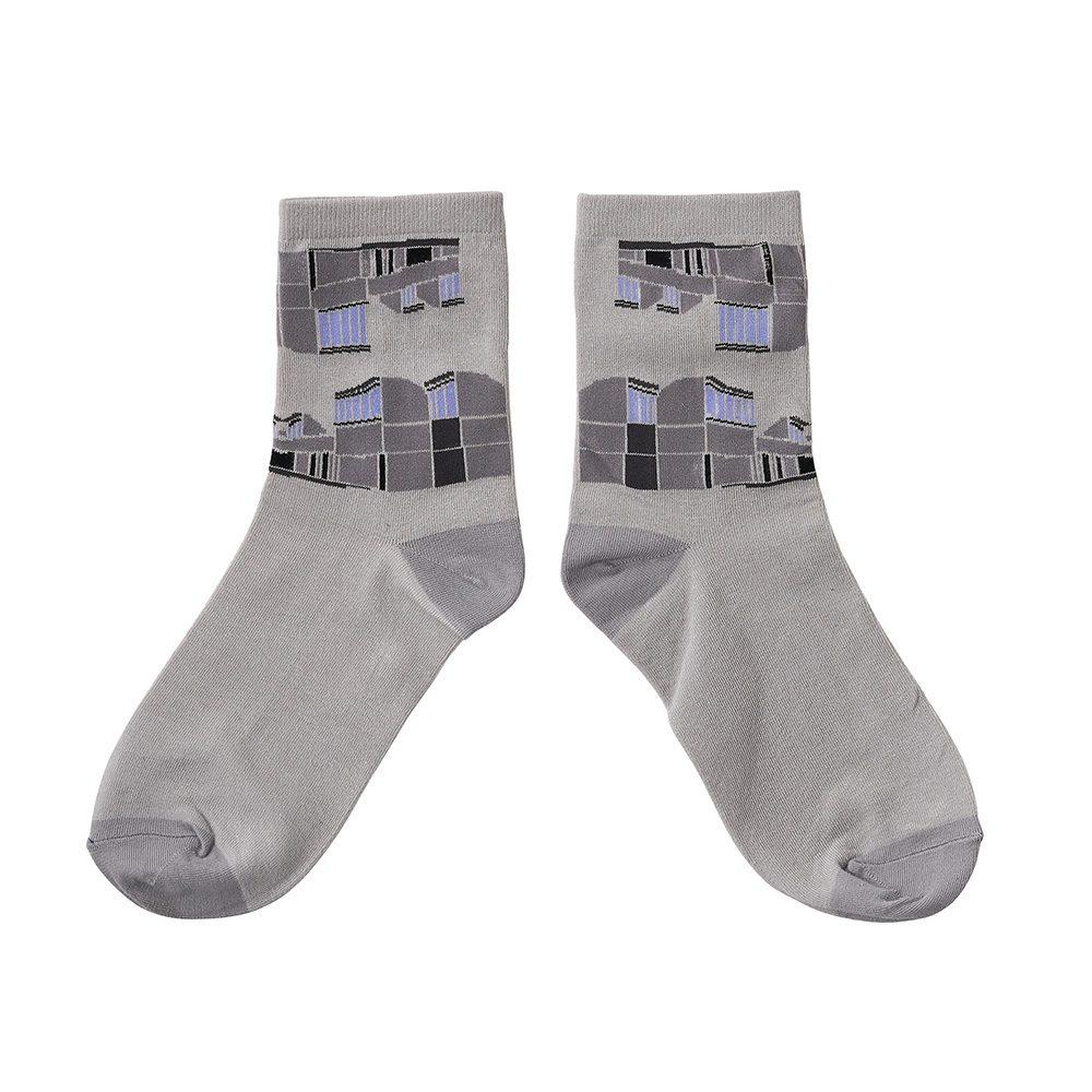 Designer socks Bauhaus grey pattern