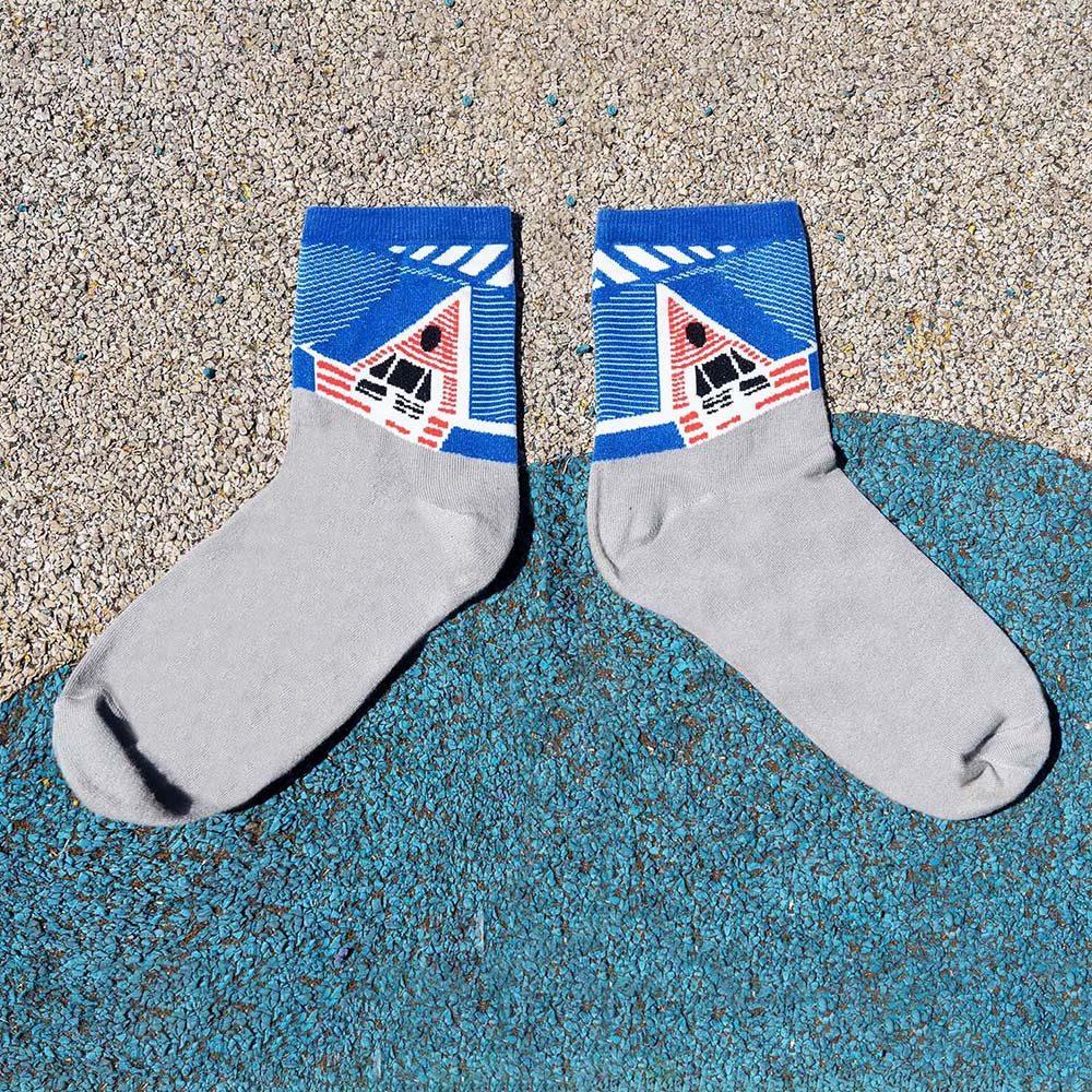 Designer socks Taichi blue pattern