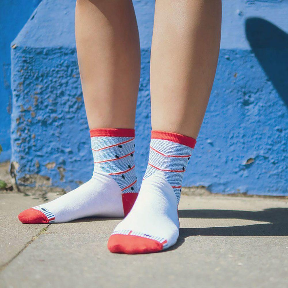 Designer socks flying cottage design