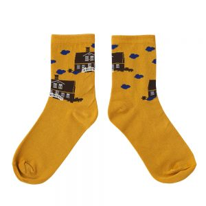 Designer socks flying cottage design
