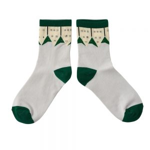 Designer socks green roof pattern