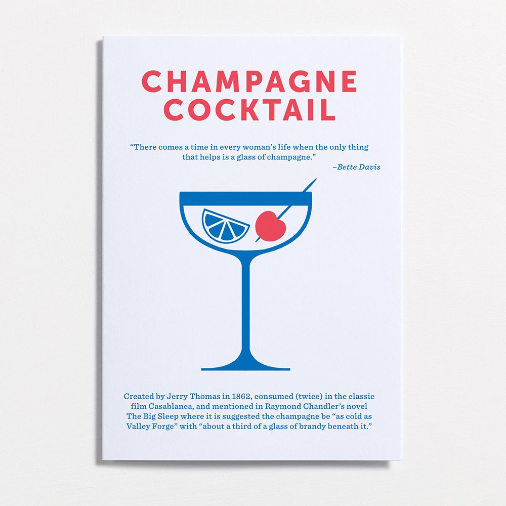 Designer stationary mixed drinks cards Champagne Cocktail