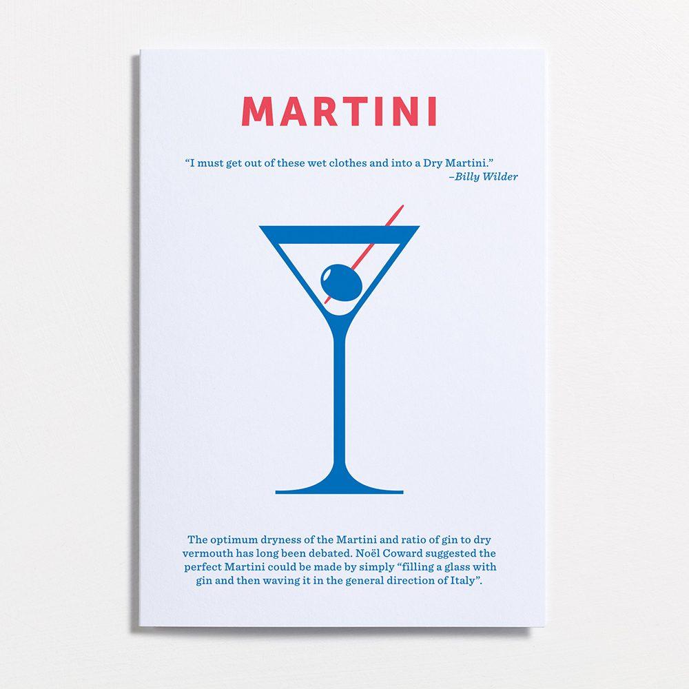 Designer stationary mixed drinks cards Martini