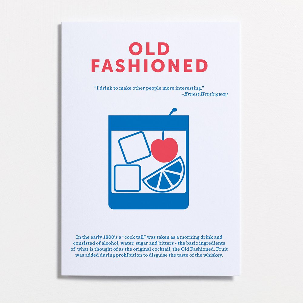 Designer stationary mixed drinks cards Old Fashioned