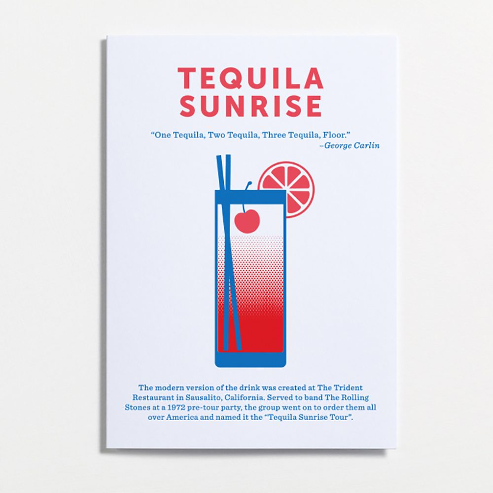Designer stationary mixed drinks cards Tequila Sunrise