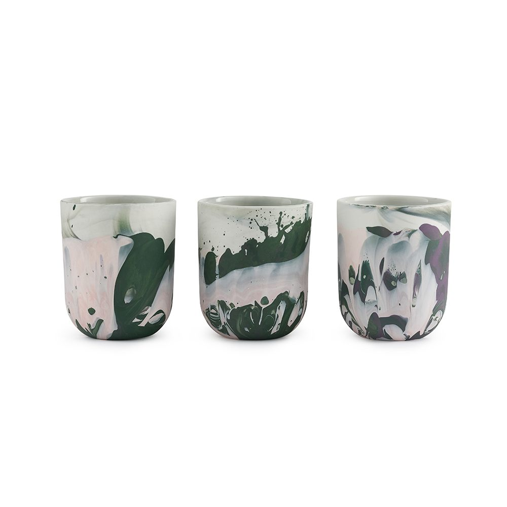 Designer homeware Fountouki pots pink and green row