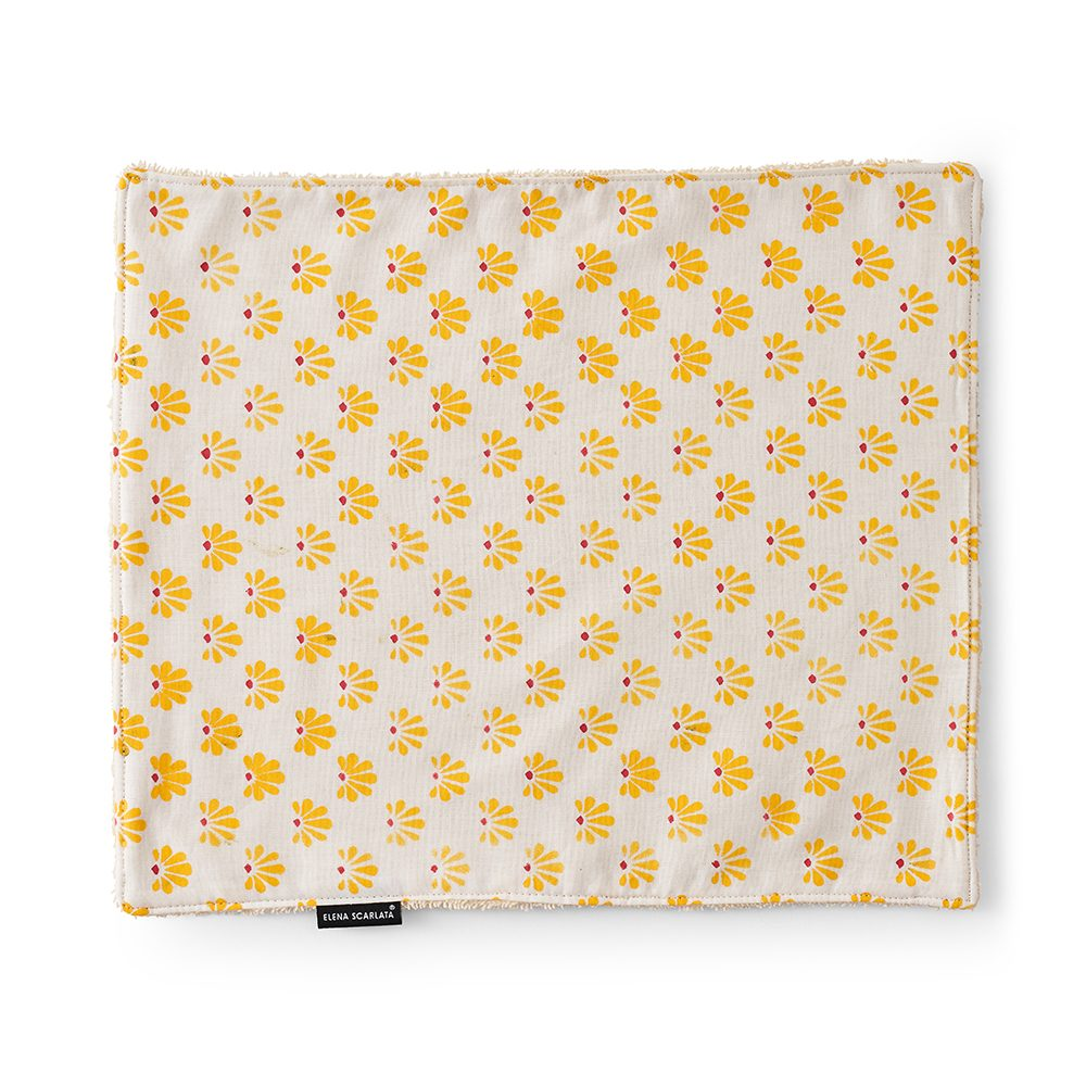 Face towel with yellow print.