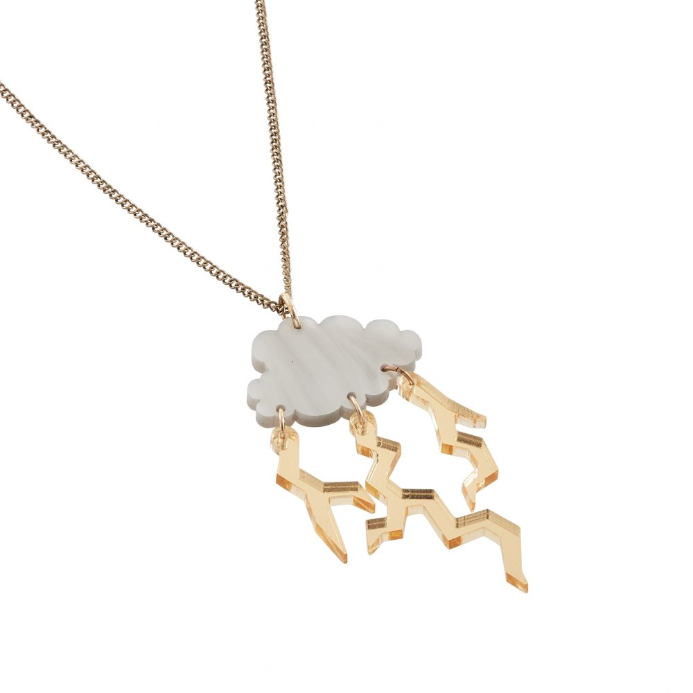 Acrylic laser cut cloud necklace