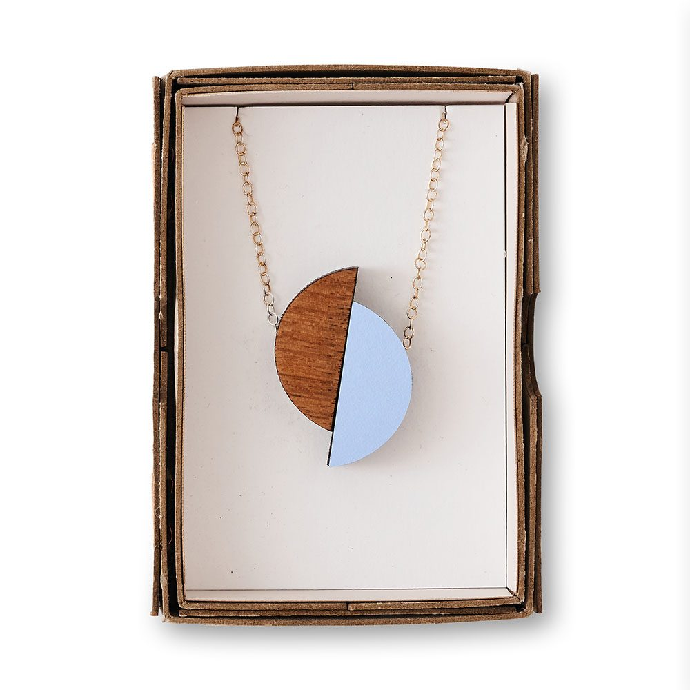Unique necklaces - geometric pale blue necklace in its box