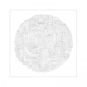 Home wall art - Black circular print of London landmarks in block style