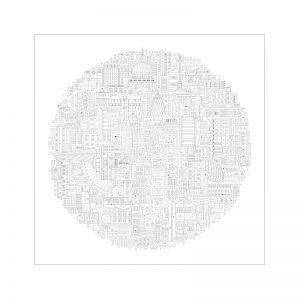 Home wall art - Black circular print of London landmarks in block style