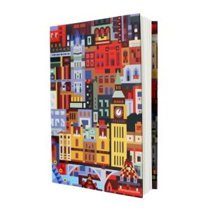 London Gifts - Notebook with brightly coloured London block print design