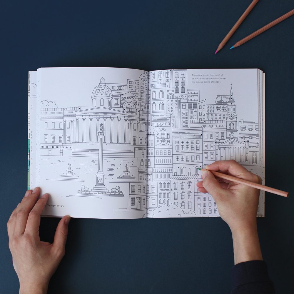 Colouring book with illustrations of London