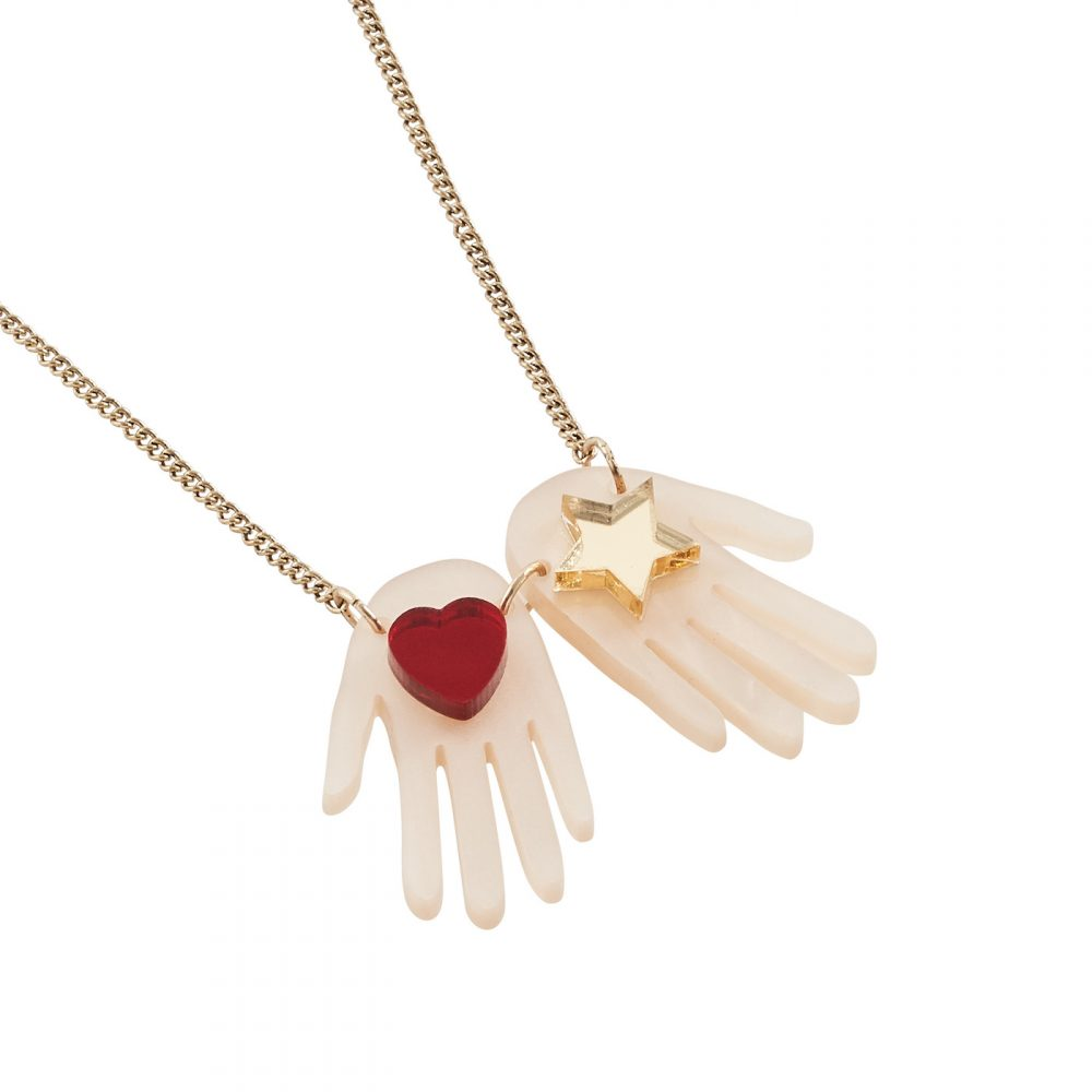 Acrylic hands necklace