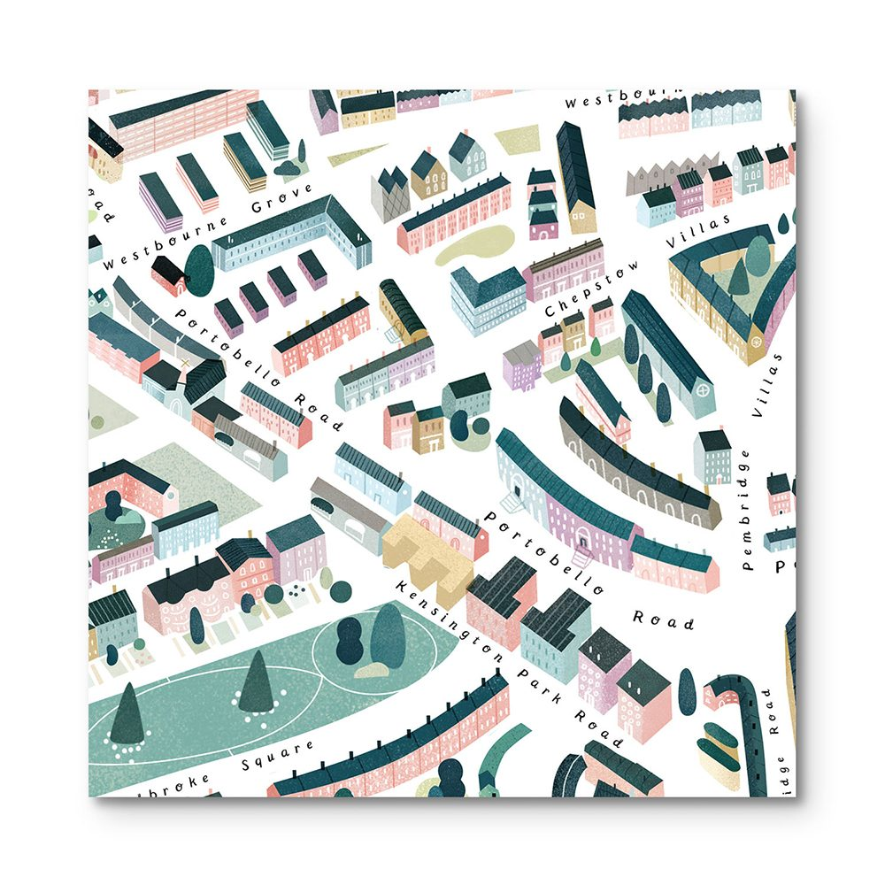 Home wall art - illustrated map of Notting Hill