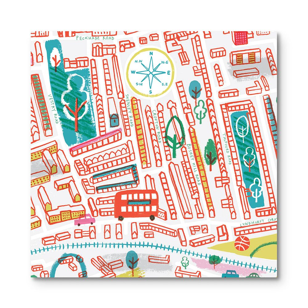 Home wall art - illustrated map of Peckham