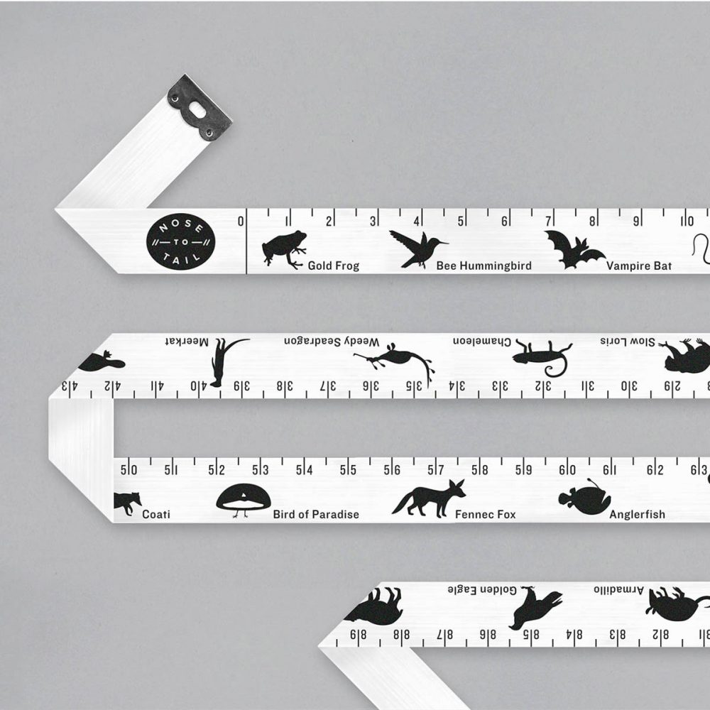White tape measure with animal silhouettes