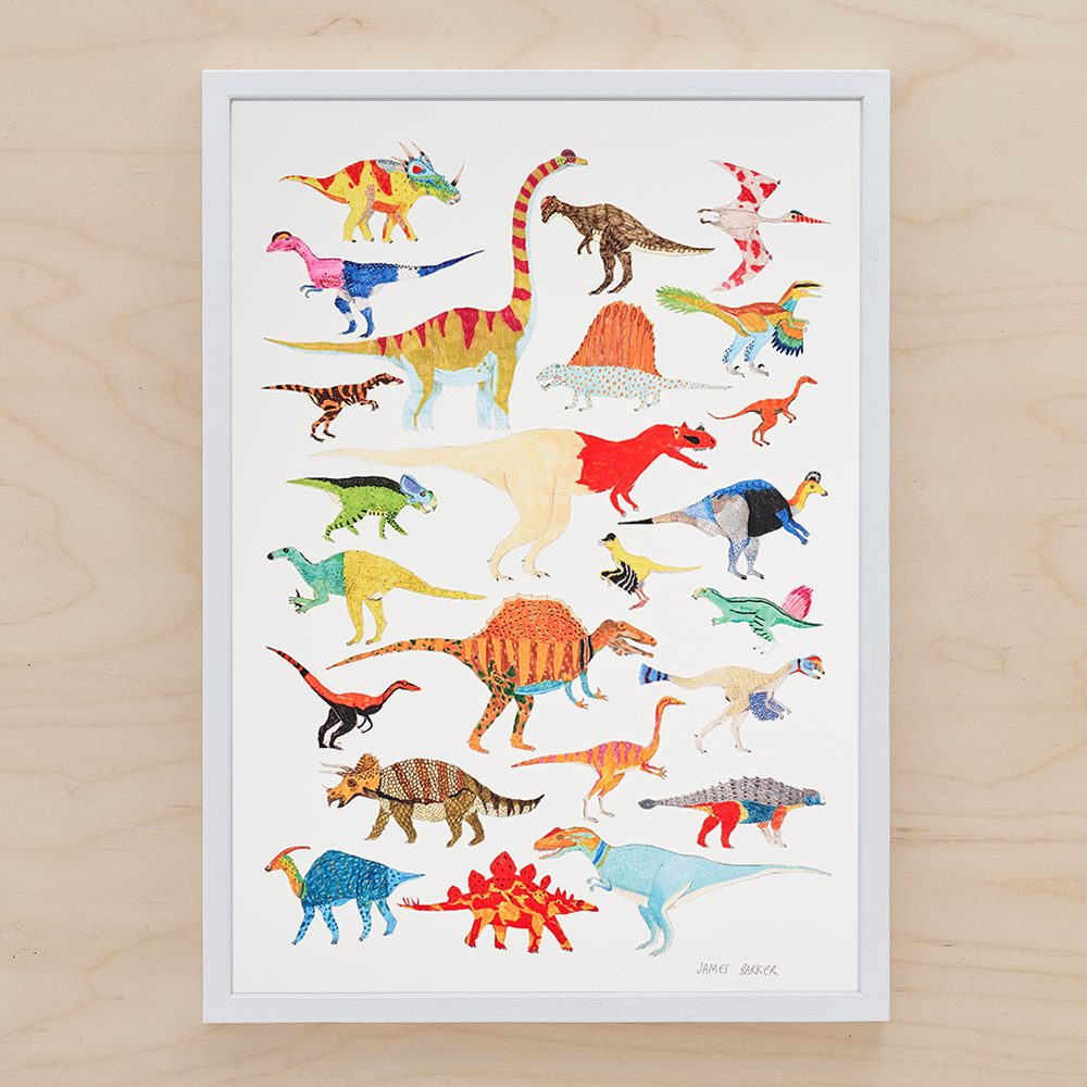 Colourful A3 print with different dinosaurs