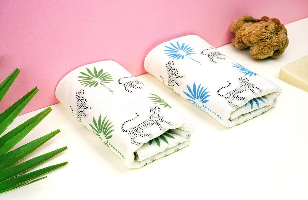 Organic face towels with leopard design