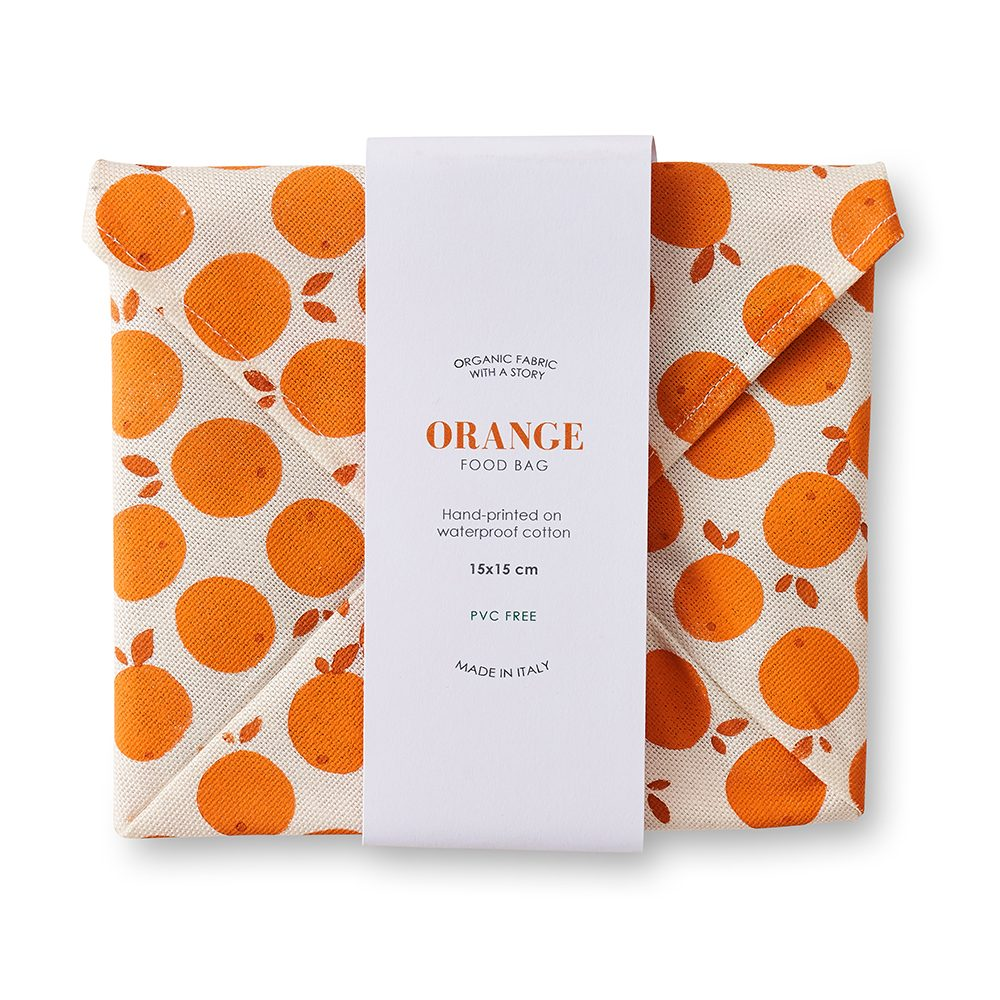 Cotton food wrap with orange fruit design.