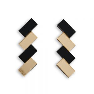 Statement earrings - black and gold acrylic