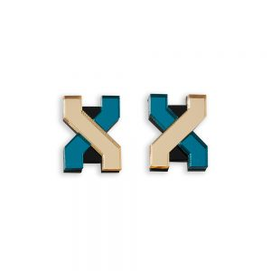 Statement earrings - Teal and Gold laser cut acrylic earrings