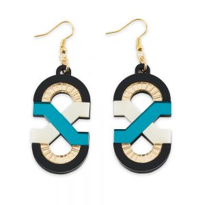 Statement earrings - Teal, Ivory and Gold laser cut acrylic earrings