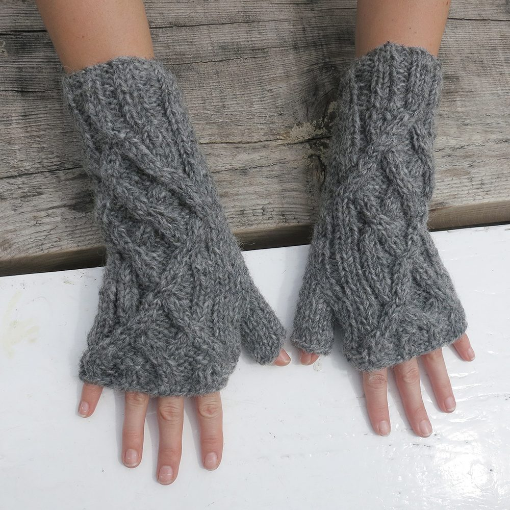 Fairtrade cable knit wrist warmers