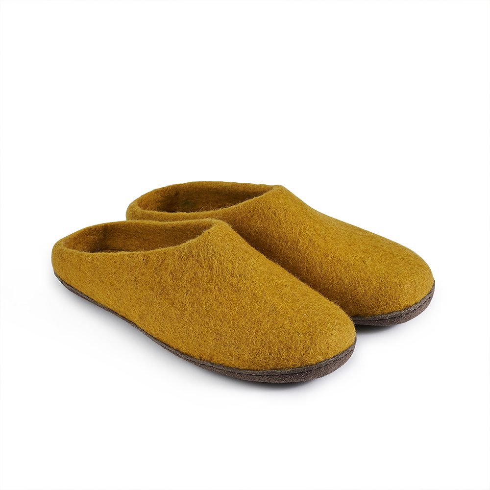 Fairtrade felt slippers in mustard yellow