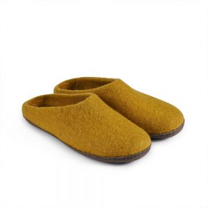 Fairtrade felt slippers in mustard yellow