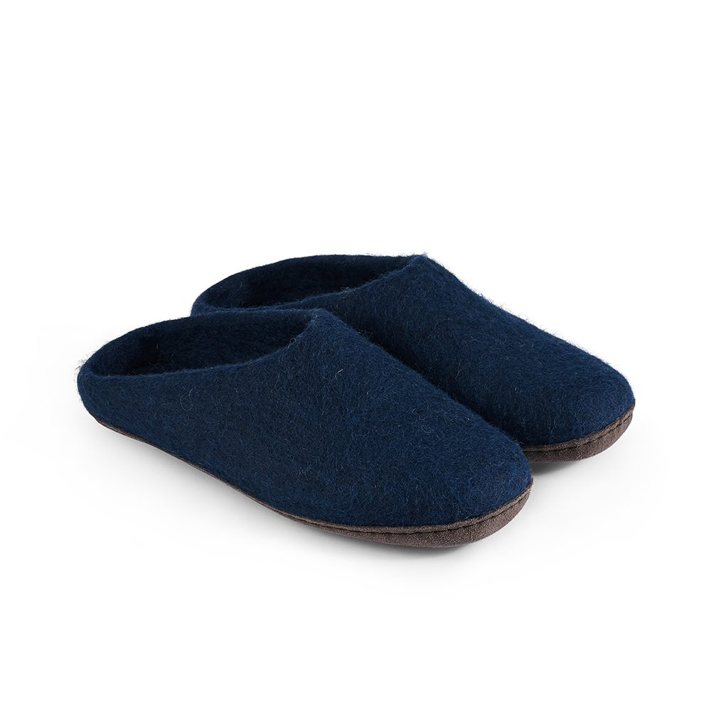 Fairtrade felt slippers in navy blue