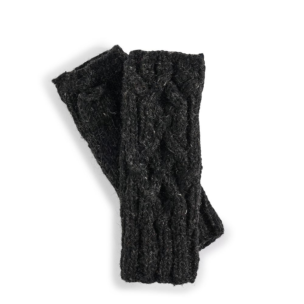 Fairtrade wool wrist warmers - dark grey