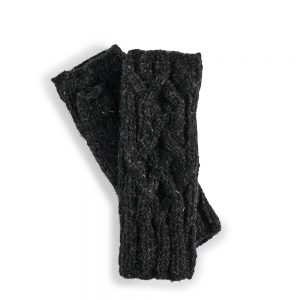 Fairtrade wool wrist warmers - dark grey