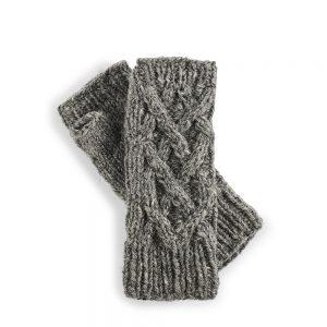 Fairtrade wool wrist warmers - light grey