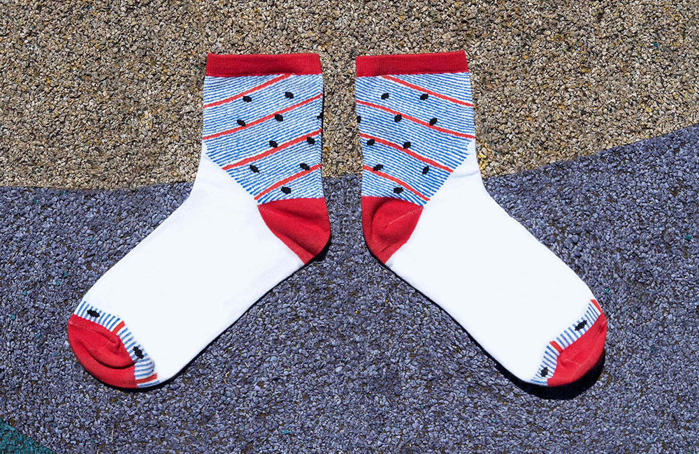 Blue white and red socks