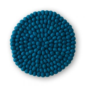 Blue felt ball table mat