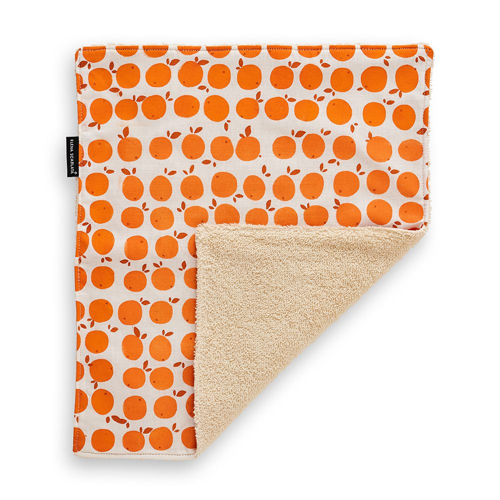 Gift ideas under £20 - hemp face towel with orange print