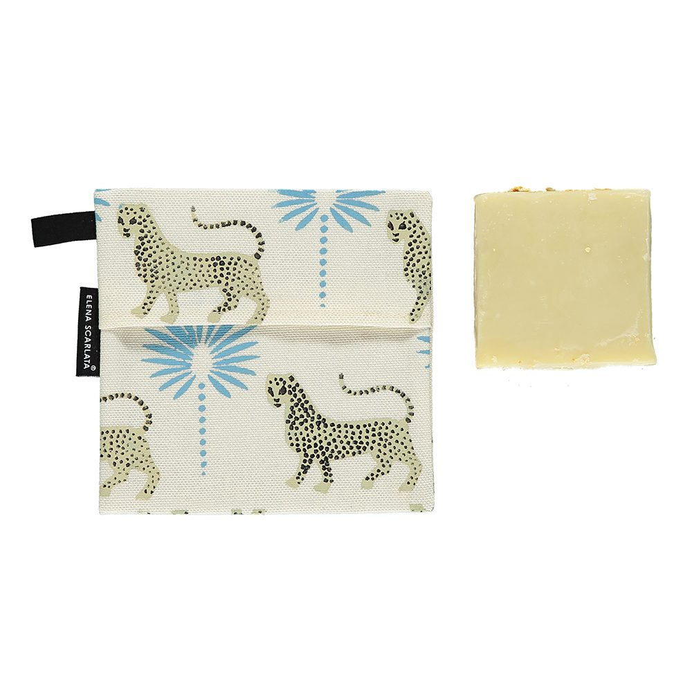 Gift ideas under £20 - Organic travel soap bag with Gattopardo design