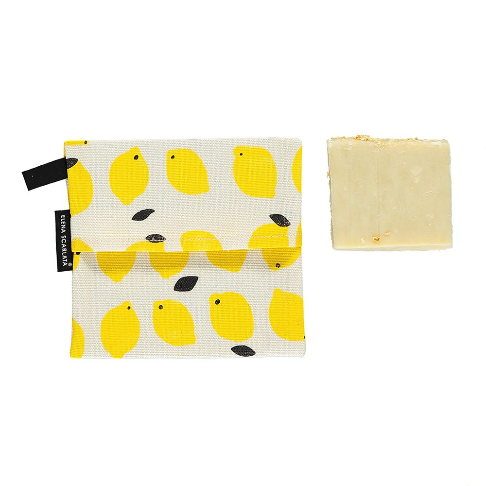 Gift ideas under £20 - organic travel soap bag - lemon
