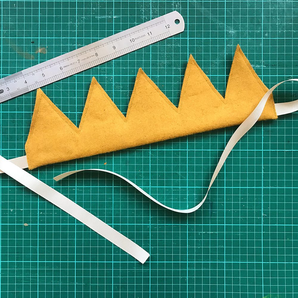 Mustard yellow felt crown headdress