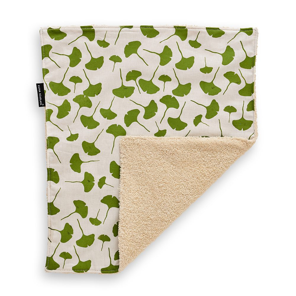 Gift ideas under £20 - hemp face towel with gingko leaf print