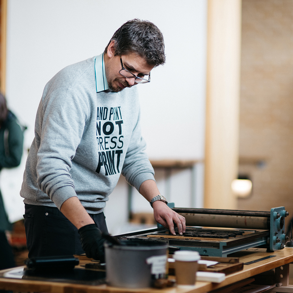 Photo of Tom Boulton from print press brand Type Tom