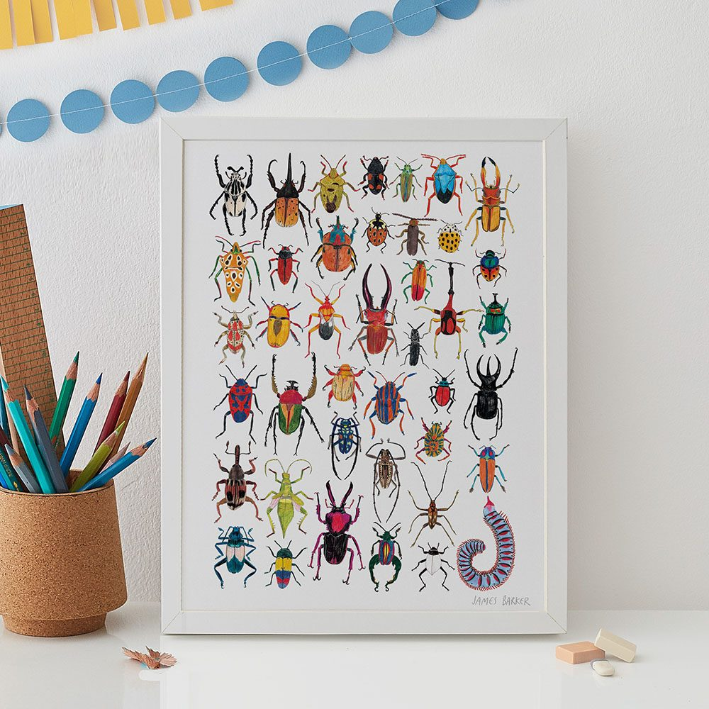 Home wall art - insects illustrated print