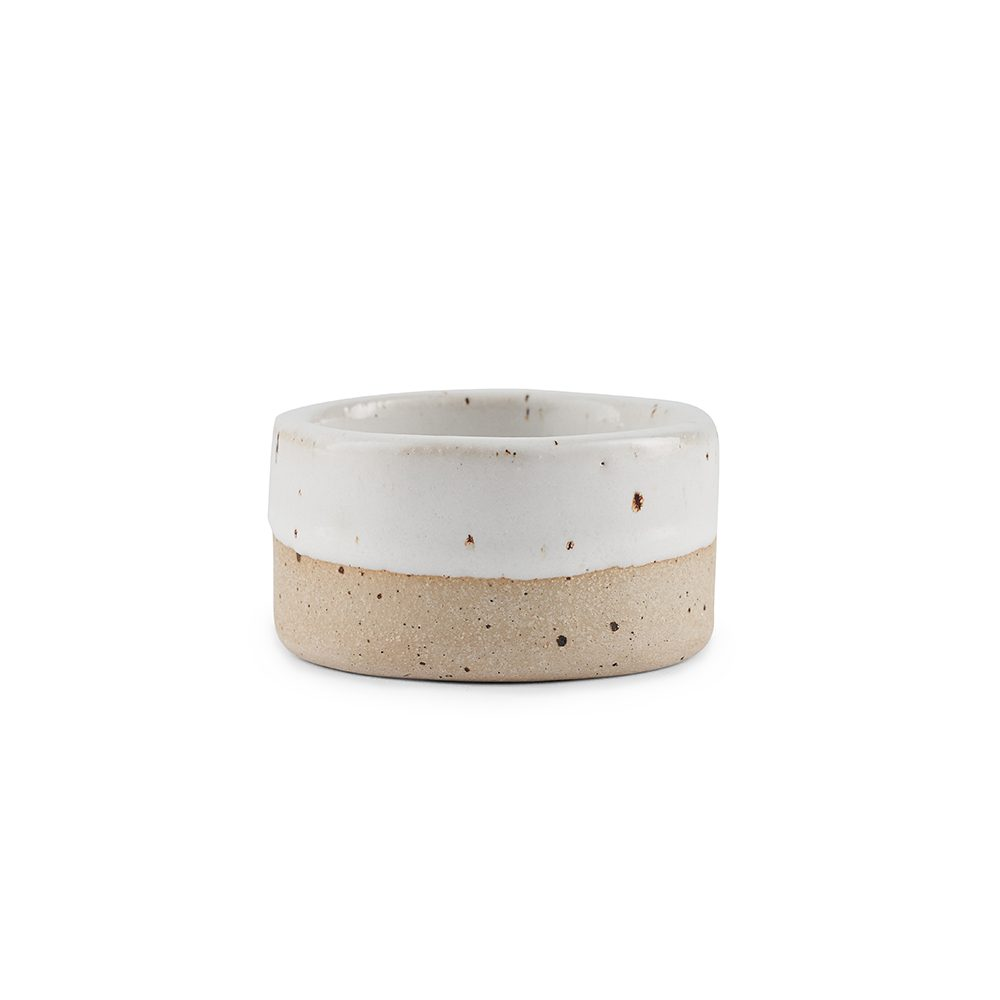 Homeware gifts - handmade stoneware candle holder with white glaze