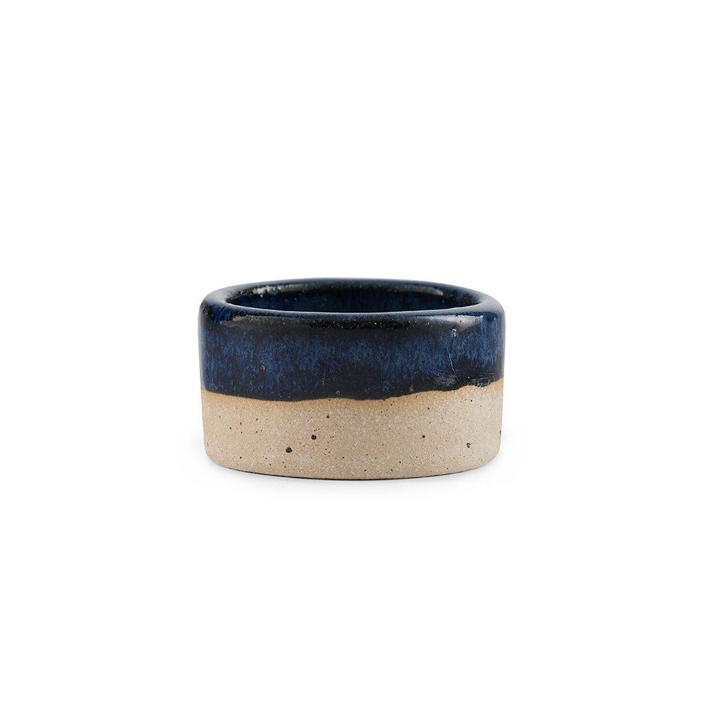 Homeware gifts - handmade stoneware candle holder with dark blue glaze