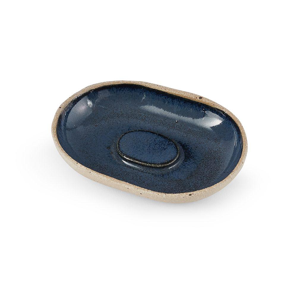 Homeware gifts - handmade soap dish with blue glaze