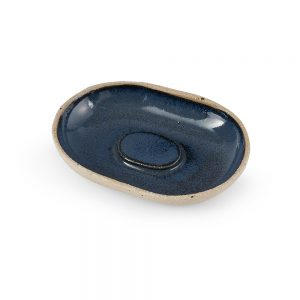 Homeware gifts - handmade soap dish with blue glaze