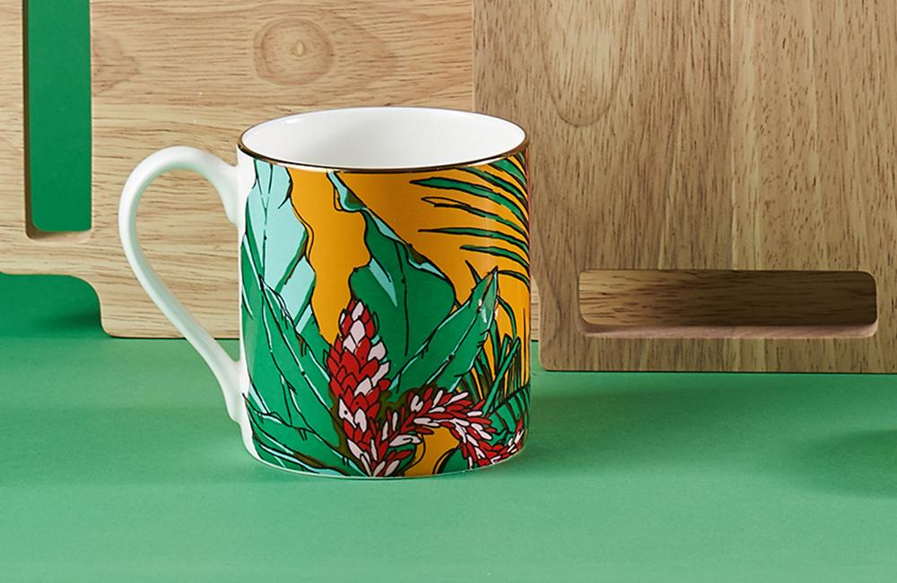 Brightly coloured shangri la mug
